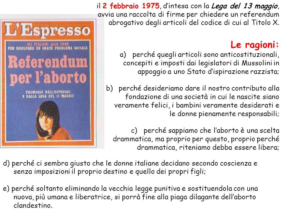 2 febbraio 1975 il 2 febbraio 1975, dintesa con la Lega del 13 maggio, avvia una raccolta di firme per chiedere un referendum abrogativo degli articol