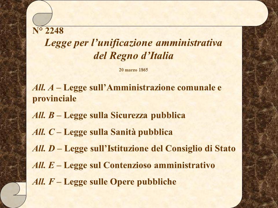 Legge per lunificazione amministrativa del Regno dItalia 20 marzo 1865 N° 2248 All. A – Legge sullAmministrazione comunale e provinciale All. B – Legg