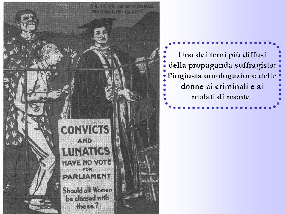 Uno dei temi più diffusi della propaganda suffragista: lingiusta omologazione delle donne ai criminali e ai malati di mente