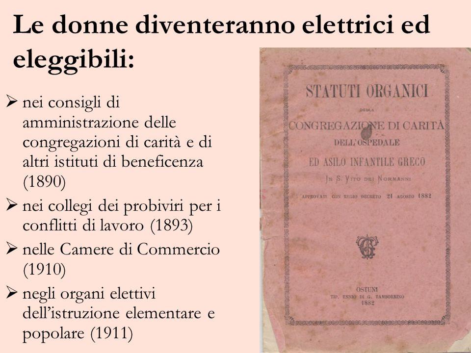 Le donne diventeranno elettrici ed eleggibili: nei consigli di amministrazione delle congregazioni di carità e di altri istituti di beneficenza (1890)
