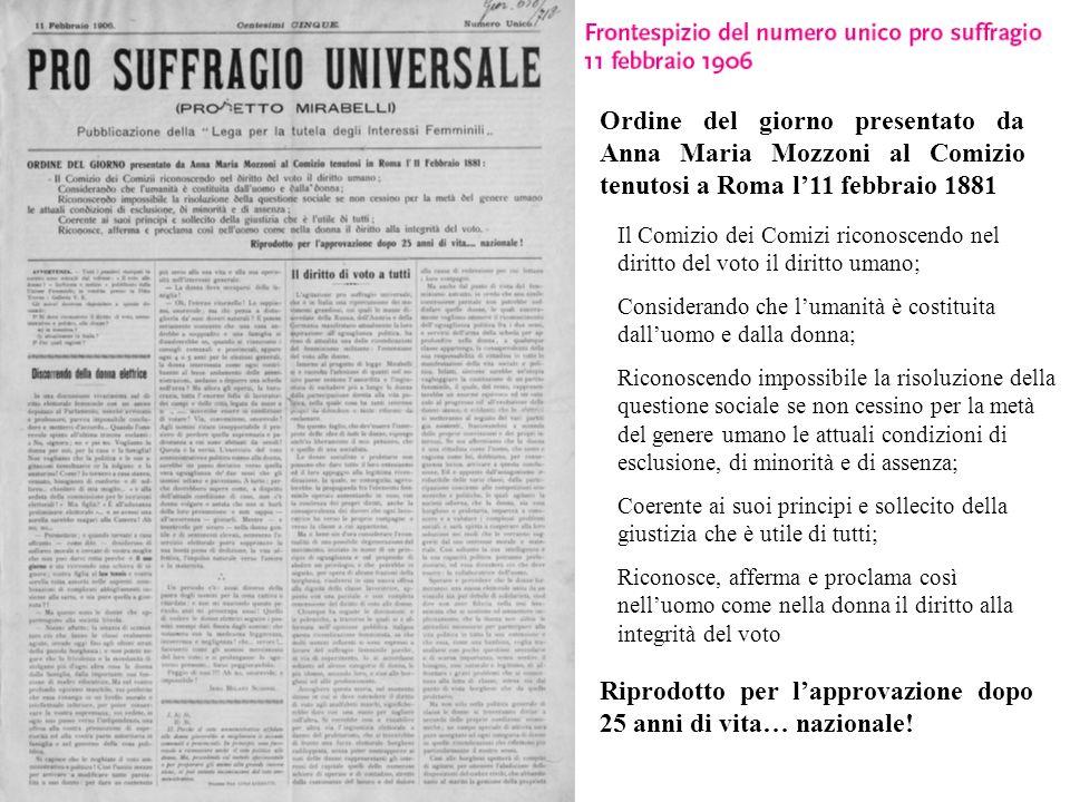 Ordine del giorno presentato da Anna Maria Mozzoni al Comizio tenutosi a Roma l11 febbraio 1881 Il Comizio dei Comizi riconoscendo nel diritto del vot