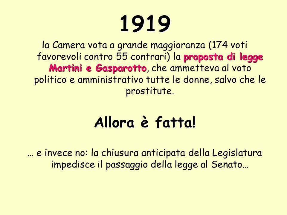 1919 proposta di legge Martini e Gasparotto la Camera vota a grande maggioranza (174 voti favorevoli contro 55 contrari) la proposta di legge Martini