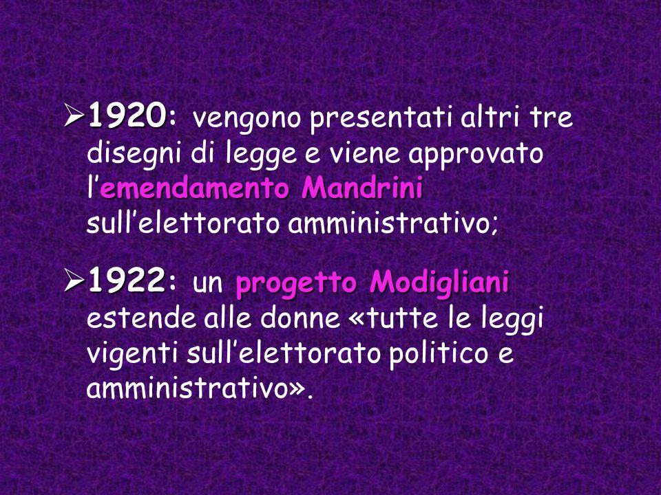 1920 emendamentoMandrini 1920 : vengono presentati altri tre disegni di legge e viene approvato lemendamento Mandrini sullelettorato amministrativo; 1