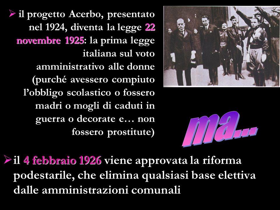 4 febbraio 1926 il 4 febbraio 1926 viene approvata la riforma podestarile, che elimina qualsiasi base elettiva dalle amministrazioni comunali 22 novem