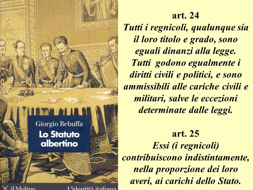 art. 24 Tutti i regnicoli, qualunque sia il loro titolo e grado, sono eguali dinanzi alla legge. Tutti godono egualmente i diritti civili e politici,