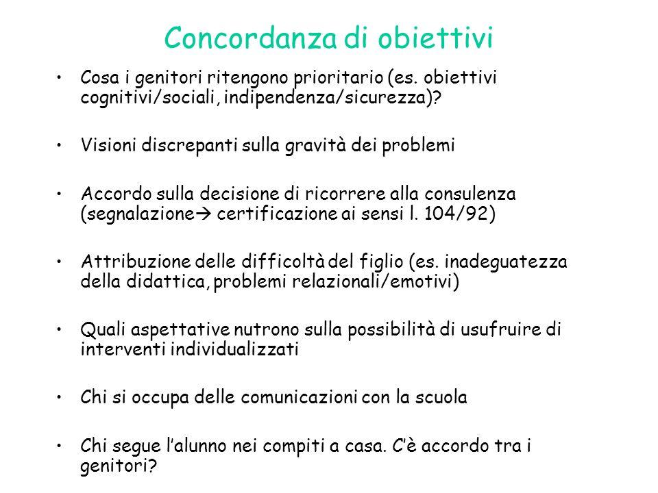 Concordanza di obiettivi Cosa i genitori ritengono prioritario (es. obiettivi cognitivi/sociali, indipendenza/sicurezza)? Visioni discrepanti sulla gr