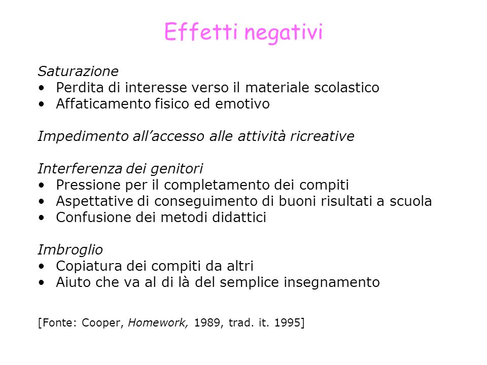Effetti negativi Saturazione Perdita di interesse verso il materiale scolastico Affaticamento fisico ed emotivo Impedimento allaccesso alle attività r