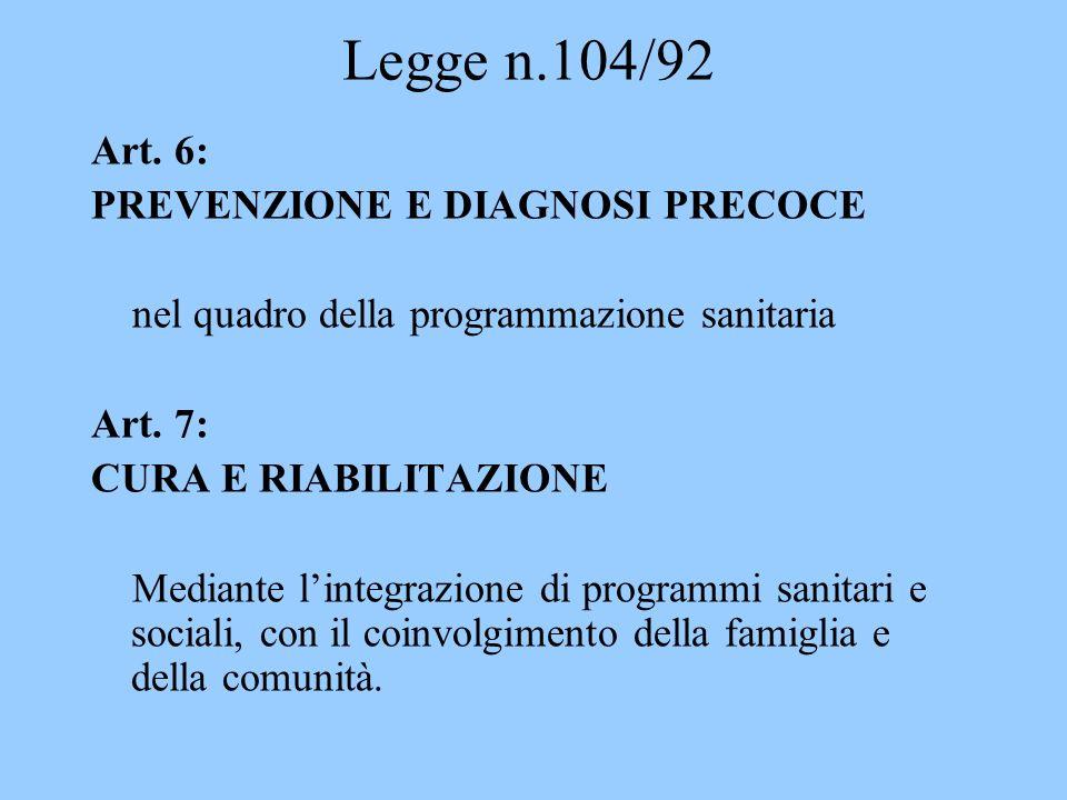 Legge n.104/92 Art. 6: PREVENZIONE E DIAGNOSI PRECOCE nel quadro della programmazione sanitaria Art. 7: CURA E RIABILITAZIONE Mediante lintegrazione d