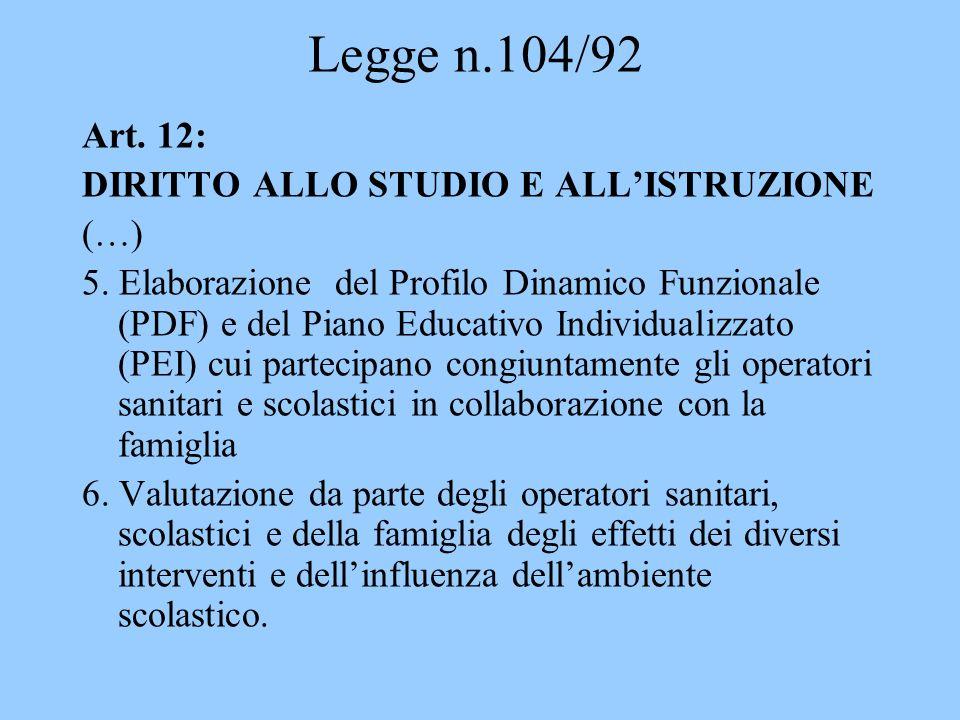 Legge n.104/92 Art. 12: DIRITTO ALLO STUDIO E ALLISTRUZIONE (…) 5. Elaborazione del Profilo Dinamico Funzionale (PDF) e del Piano Educativo Individual