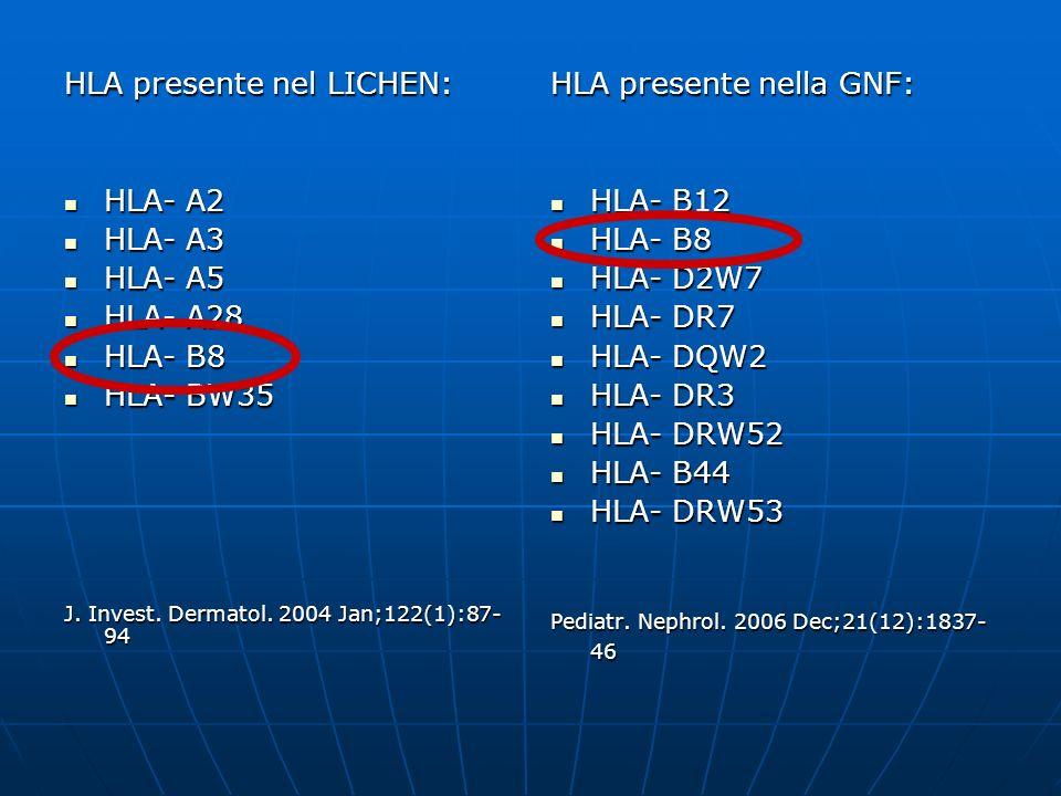 HLA presente nel LICHEN: HLA- A2 HLA- A2 HLA- A3 HLA- A3 HLA- A5 HLA- A5 HLA- A28 HLA- A28 HLA- B8 HLA- B8 HLA- BW35 HLA- BW35 J. Invest. Dermatol. 20