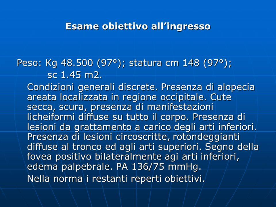 Esame obiettivo allingresso Peso: Kg 48.500 (97°); statura cm 148 (97°); sc 1.45 m2. sc 1.45 m2. Condizioni generali discrete. Presenza di alopecia ar