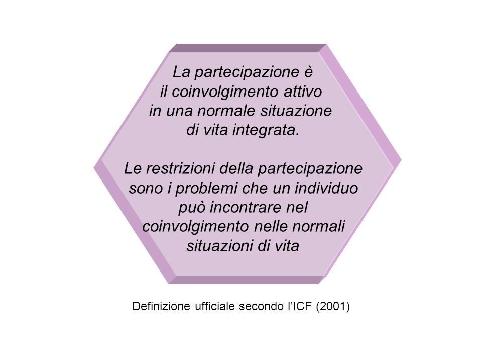 La partecipazione è il coinvolgimento attivo in una normale situazione di vita integrata. Le restrizioni della partecipazione sono i problemi che un i