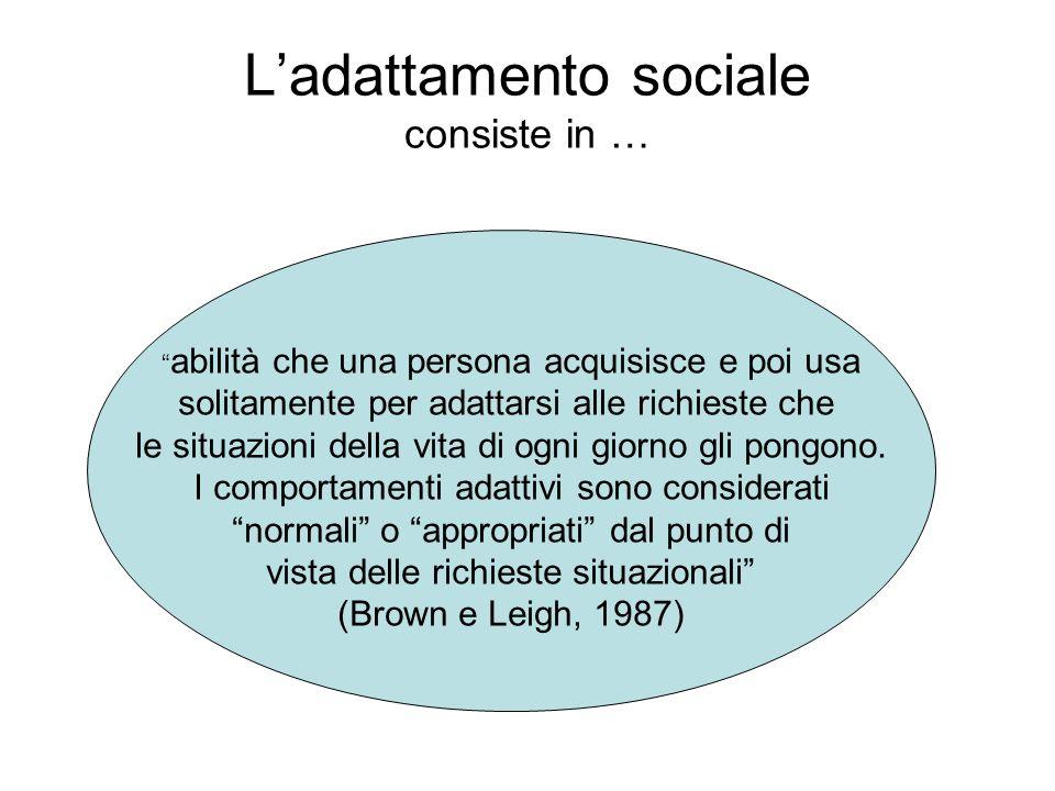 Ladattamento sociale consiste in … abilità che una persona acquisisce e poi usa solitamente per adattarsi alle richieste che le situazioni della vita di ogni giorno gli pongono.