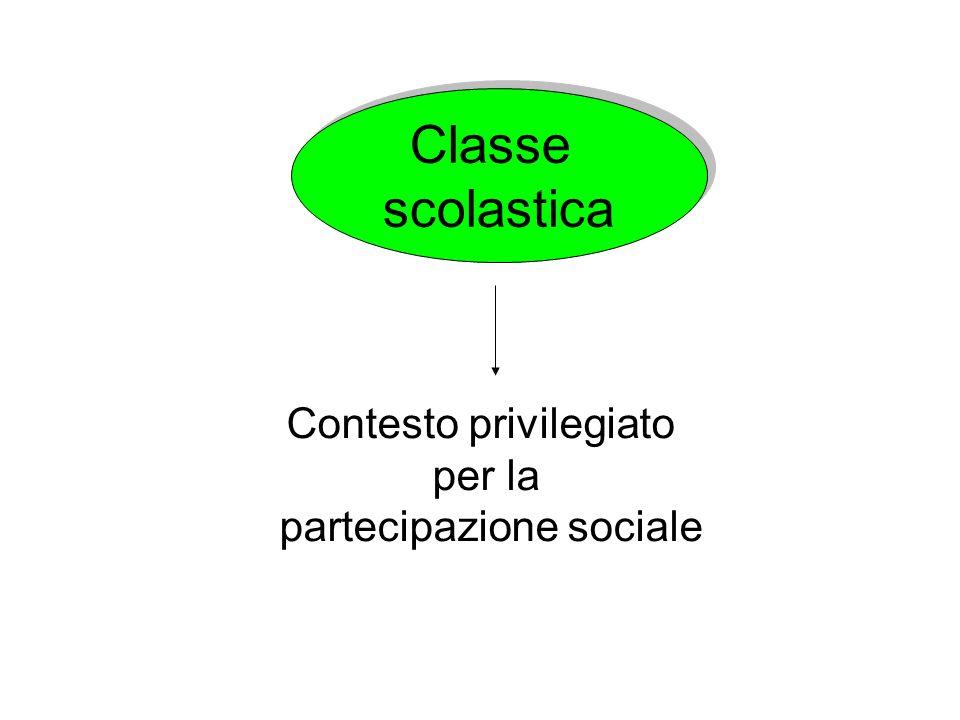 Classe scolastica Classe scolastica Contesto privilegiato per la partecipazione sociale