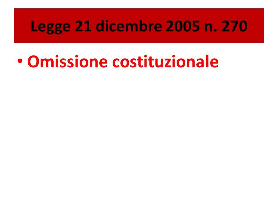 Legge 21 dicembre 2005 n. 270 Omissione costituzionale
