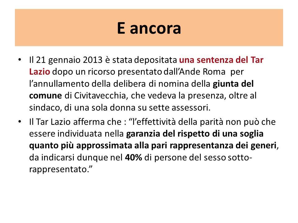 E ancora Il 21 gennaio 2013 è stata depositata una sentenza del Tar Lazio dopo un ricorso presentato dallAnde Roma per lannullamento della delibera di nomina della giunta del comune di Civitavecchia, che vedeva la presenza, oltre al sindaco, di una sola donna su sette assessori.