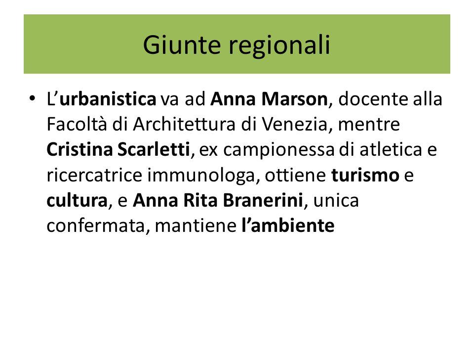 Giunte regionali Lurbanistica va ad Anna Marson, docente alla Facoltà di Architettura di Venezia, mentre Cristina Scarletti, ex campionessa di atletica e ricercatrice immunologa, ottiene turismo e cultura, e Anna Rita Branerini, unica confermata, mantiene lambiente