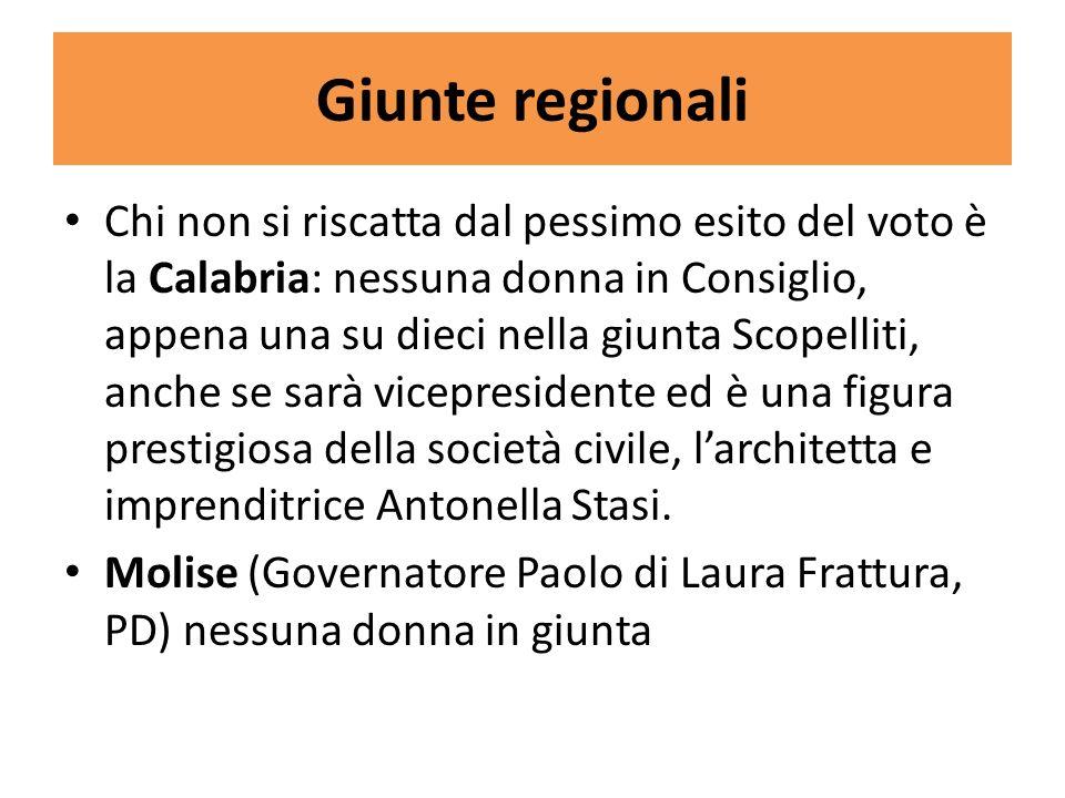 Giunte regionali Chi non si riscatta dal pessimo esito del voto è la Calabria: nessuna donna in Consiglio, appena una su dieci nella giunta Scopelliti, anche se sarà vicepresidente ed è una figura prestigiosa della società civile, larchitetta e imprenditrice Antonella Stasi.