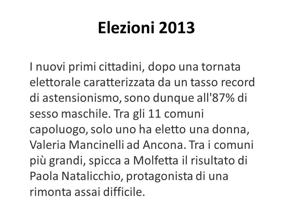 Elezioni 2013 I nuovi primi cittadini, dopo una tornata elettorale caratterizzata da un tasso record di astensionismo, sono dunque all 87% di sesso maschile.