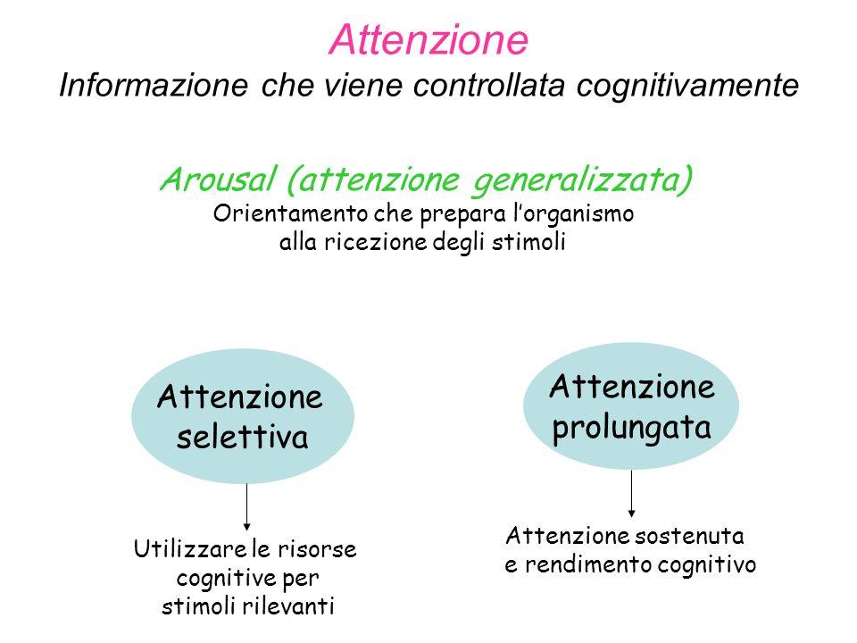 Attenzione Informazione che viene controllata cognitivamente Attenzione selettiva Attenzione prolungata Utilizzare le risorse cognitive per stimoli rilevanti Attenzione sostenuta e rendimento cognitivo Arousal (attenzione generalizzata) Orientamento che prepara lorganismo alla ricezione degli stimoli