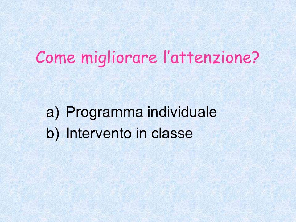 Come migliorare lattenzione? a)Programma individuale b)Intervento in classe