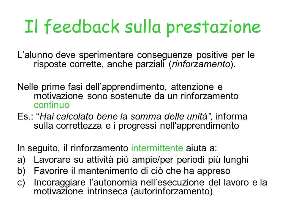 Il feedback sulla prestazione Lalunno deve sperimentare conseguenze positive per le risposte corrette, anche parziali (rinforzamento).