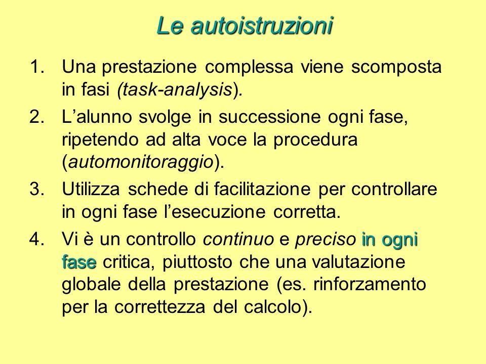 Le autoistruzioni 1.Una prestazione complessa viene scomposta in fasi (task-analysis).