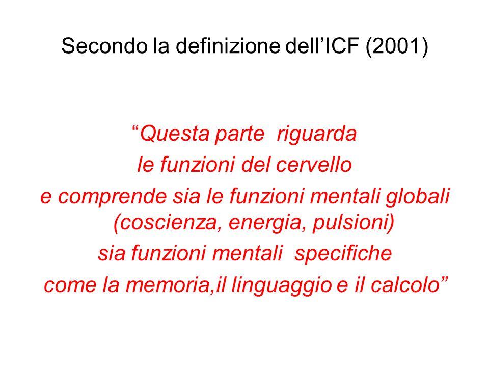 Secondo la definizione dellICF (2001) Questa parte riguarda le funzioni del cervello e comprende sia le funzioni mentali globali (coscienza, energia, pulsioni) sia funzioni mentali specifiche come la memoria,il linguaggio e il calcolo