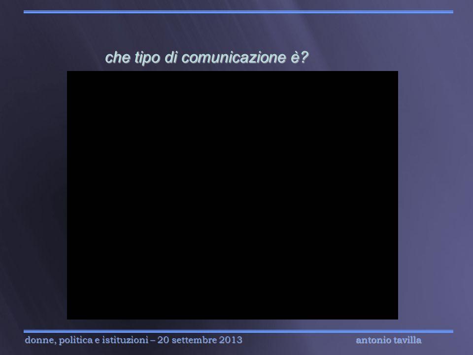 antonio tavilla donne, politica e istituzioni – 20 settembre 2013 che tipo di comunicazione è? che tipo di comunicazione è? antonio tavilla