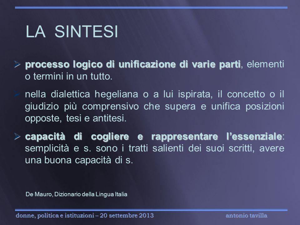 antonio tavilla donne, politica e istituzioni – 20 settembre 2013 processo logico di unificazione di varie parti processo logico di unificazione di va