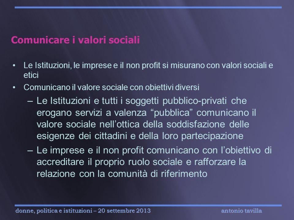 antonio tavilla donne, politica e istituzioni – 20 settembre 2013 Comunicare i valori sociali Le Istituzioni, le imprese e il non profit si misurano c