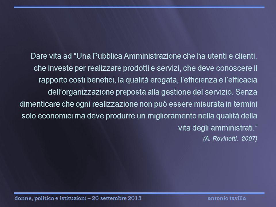 antonio tavilla donne, politica e istituzioni – 20 settembre 2013 Dare vita ad Una Pubblica Amministrazione che ha utenti e clienti, che investe per r