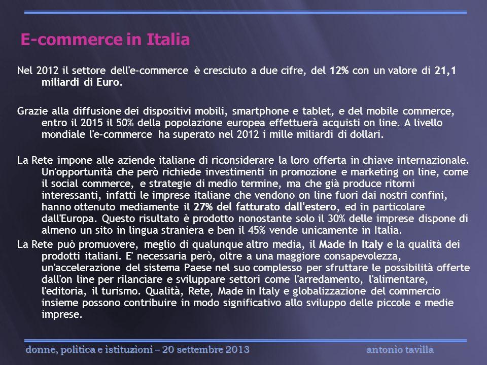 antonio tavilla donne, politica e istituzioni – 20 settembre 2013 E-commerce in Italia Nel 2012 il settore dell'e-commerce è cresciuto a due cifre, de