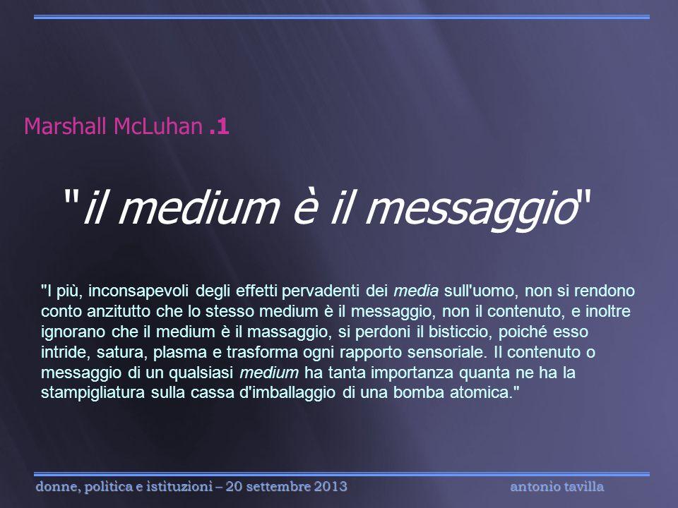 antonio tavilla donne, politica e istituzioni – 20 settembre 2013 Marshall McLuhan.1