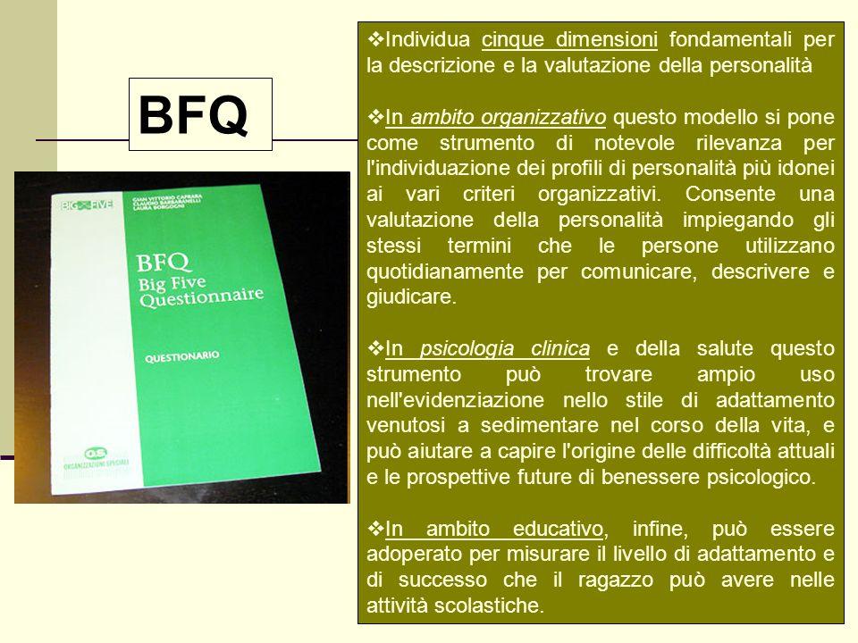 Individua cinque dimensioni fondamentali per la descrizione e la valutazione della personalità In ambito organizzativo questo modello si pone come str