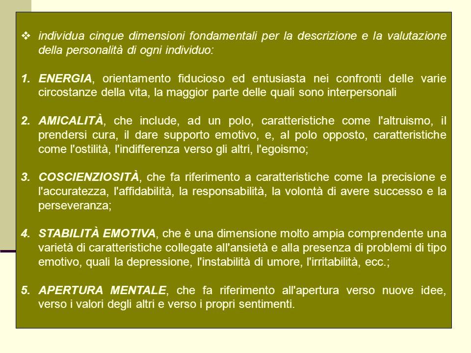 individua cinque dimensioni fondamentali per la descrizione e la valutazione della personalità di ogni individuo: 1.ENERGIA, orientamento fiducioso ed