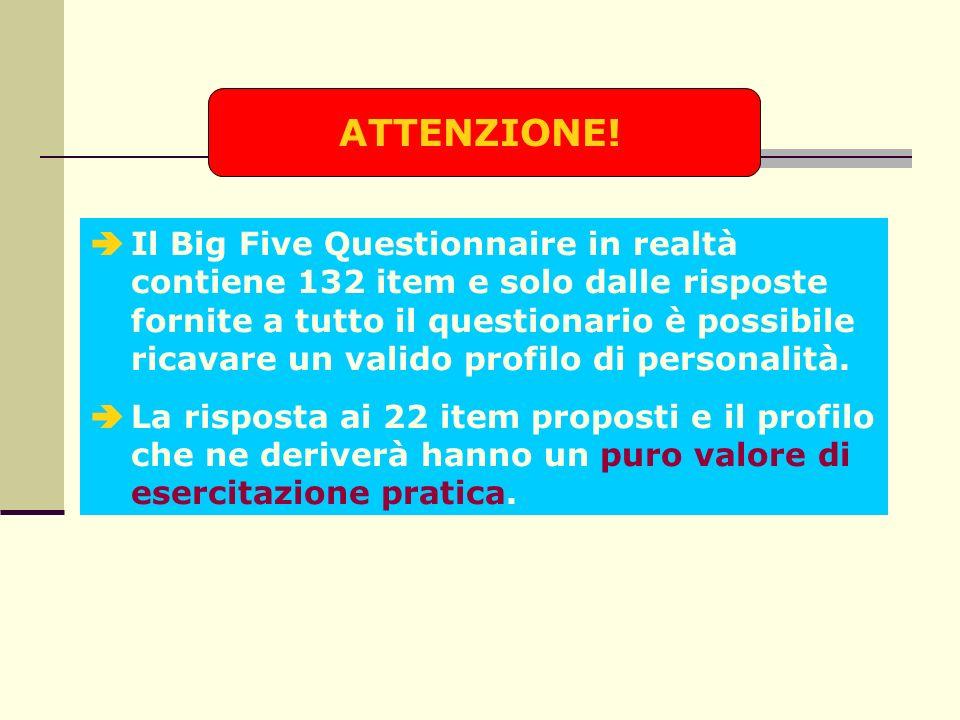 Il Big Five Questionnaire in realtà contiene 132 item e solo dalle risposte fornite a tutto il questionario è possibile ricavare un valido profilo di