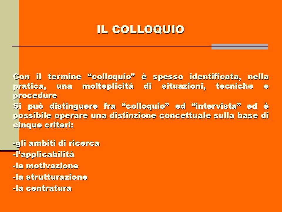 IL COLLOQUIO Con il termine colloquio è spesso identificata, nella pratica, una molteplicità di situazioni, tecniche e procedure Si può distinguere fr