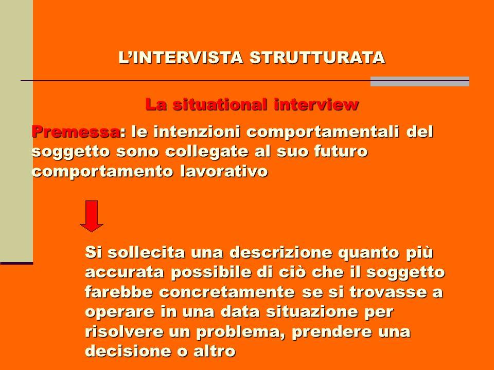 LINTERVISTA STRUTTURATA La situational interview Premessa: le intenzioni comportamentali del soggetto sono collegate al suo futuro comportamento lavor
