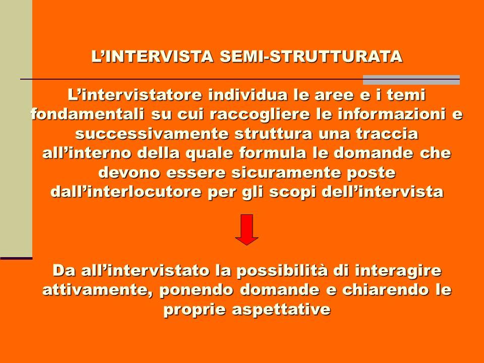 LINTERVISTA SEMI-STRUTTURATA Lintervistatore individua le aree e i temi fondamentali su cui raccogliere le informazioni e successivamente struttura un