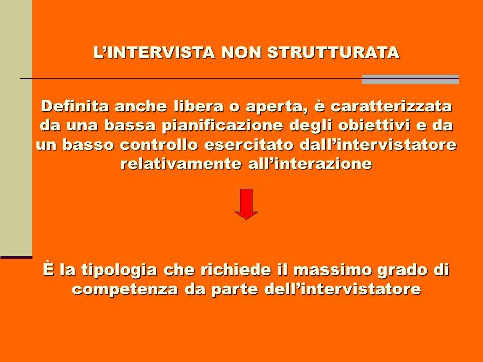 LINTERVISTA NON STRUTTURATA Definita anche libera o aperta, è caratterizzata da una bassa pianificazione degli obiettivi e da un basso controllo eserc