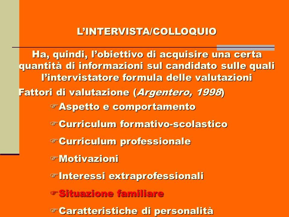 LINTERVISTA/COLLOQUIO Ha, quindi, lobiettivo di acquisire una certa quantità di informazioni sul candidato sulle quali lintervistatore formula delle v
