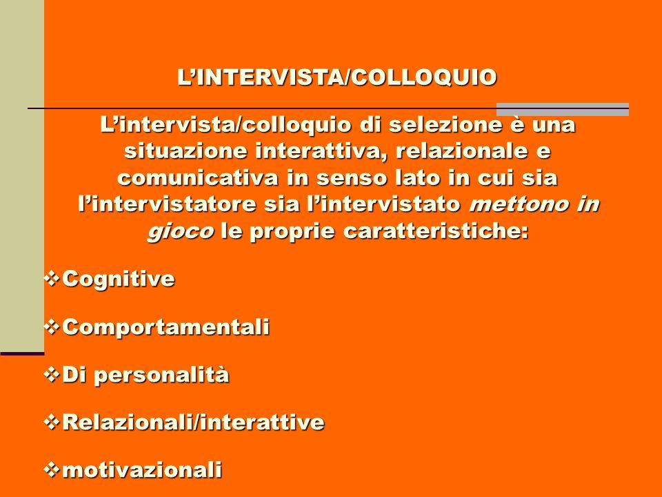 LINTERVISTA/COLLOQUIO Lintervista/colloquio di selezione è una situazione interattiva, relazionale e comunicativa in senso lato in cui sia lintervista