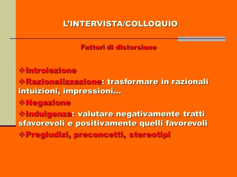 LINTERVISTA/COLLOQUIO Fattori di distorsione Introiezione Introiezione Razionalizzazione: trasformare in razionali intuizioni, impressioni… Razionaliz