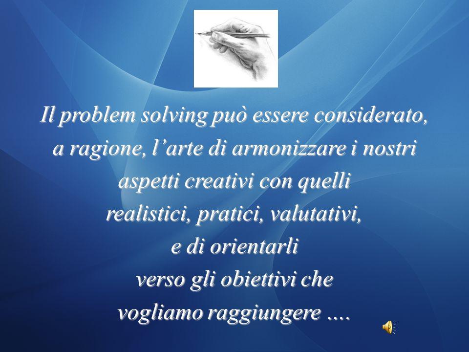 … con la chiarezza delle idee … con la creatività … con la critica … con il realismo NESSUN PROBLEMA PUO ESSERE AFFRONTATO E SUPERATO SOLO…