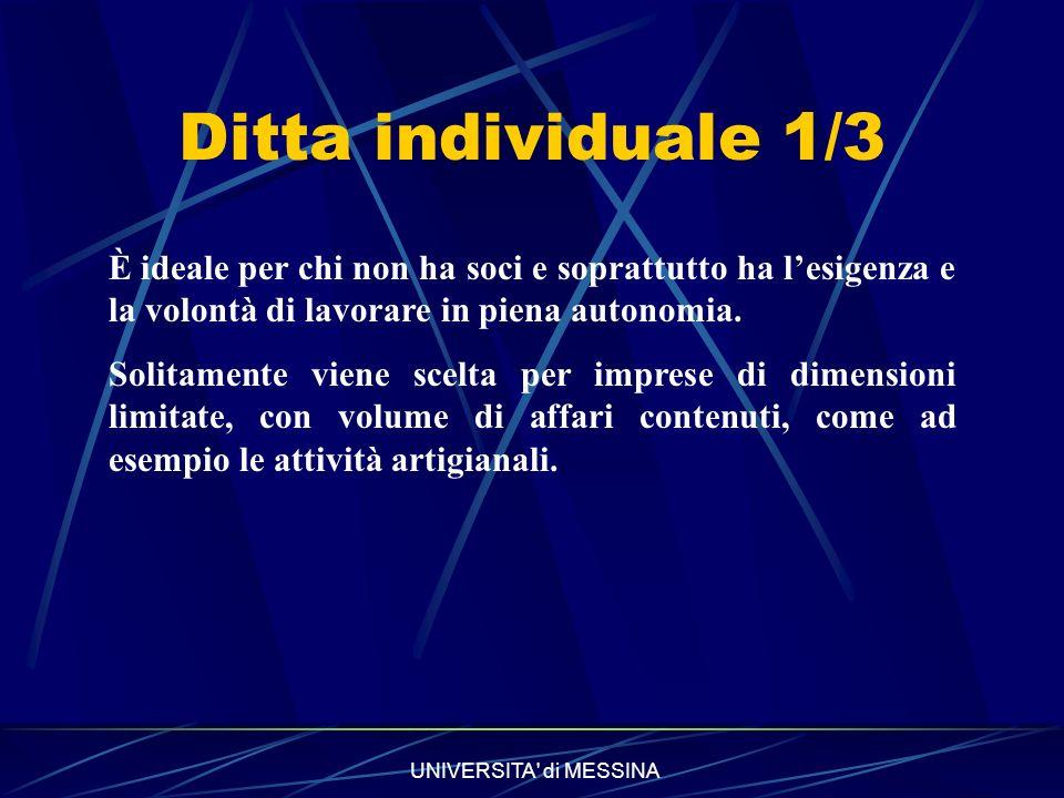UNIVERSITA di MESSINA Ditta individuale 2/3 Vantaggi Per lavvio dellattività è sufficiente iscriversi alla Camera di Commercio e una partita IVA, senza dover ricorrere ad un notaio.