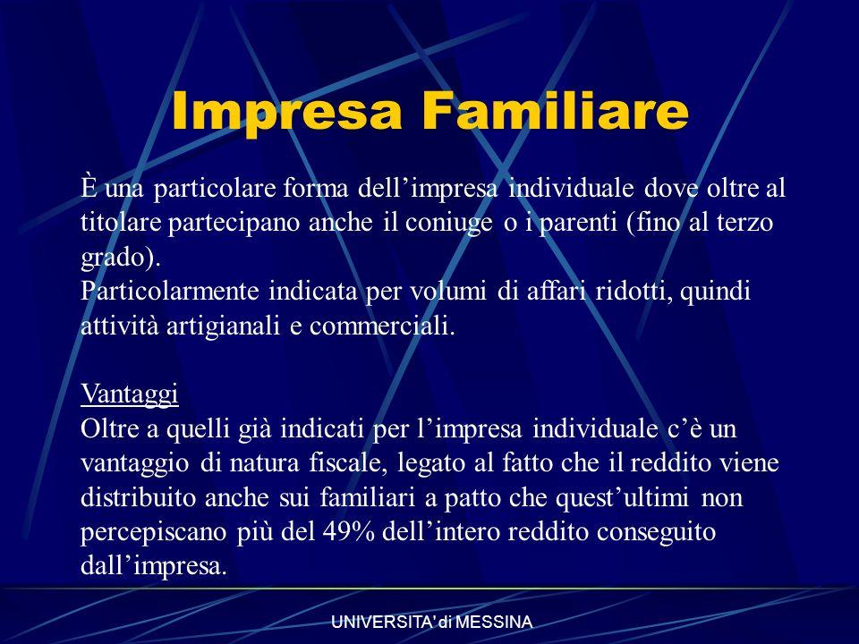 UNIVERSITA di MESSINA Impresa Familiare È una particolare forma dellimpresa individuale dove oltre al titolare partecipano anche il coniuge o i parenti (fino al terzo grado).