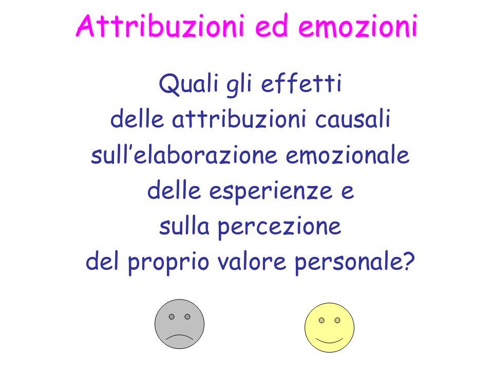 Attribuzioni ed emozioni Quali gli effetti delle attribuzioni causali sullelaborazione emozionale delle esperienze e sulla percezione del proprio valore personale