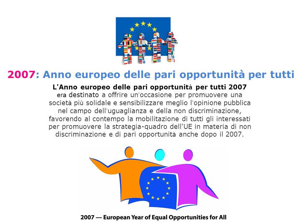 L Anno europeo delle pari opportunit à per tutti 2007 era destinato a offrire un occasione per promuovere una societ à pi ù solidale e sensibilizzare meglio l opinione pubblica nel campo dell uguaglianza e della non discriminazione, favorendo al contempo la mobilitazione di tutti gli interessati per promuovere la strategia-quadro dell UE in materia di non discriminazione e di pari opportunit à anche dopo il 2007.