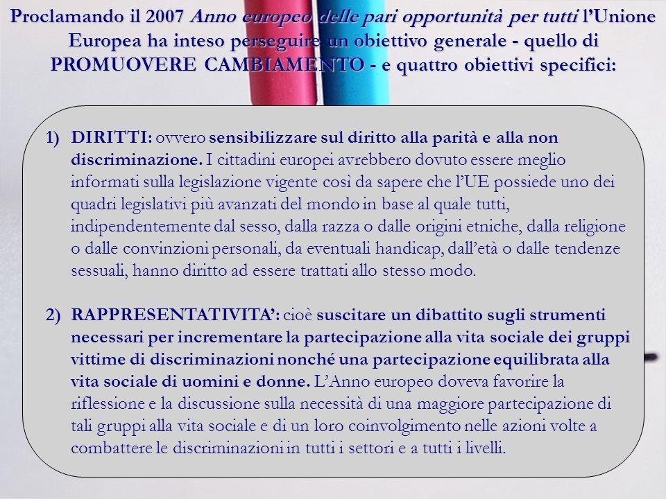 Proclamando il 2007 Anno europeo delle pari opportunità per tutti lUnione Europea ha inteso perseguire un obiettivo generale - quello di PROMUOVERE CAMBIAMENTO - e quattro obiettivi specifici: 1)DIRITTI: ovvero sensibilizzare sul diritto alla parità e alla non discriminazione.